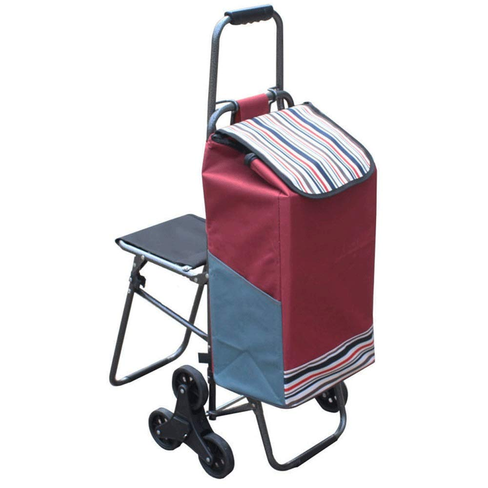 ショッピングキャ 家庭用ポータブルショッピングカート、折りたたみ式クライミングカート、シートトロリー付き、トラベルラゲージトレーラー(シート付き) ++ (色 : C)  C B07Q2YJXF6