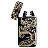 Padgene Electronic Pulse Double Arc Cigarette Lighter, Chinese Dragon Windproof Flameless USB Rechargeable Arc Lighter (Black/2)