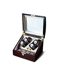 OLYMBROS Wooden Quad Automatic Watch Winder Organizer for 4 and 4 Watch Storage Box