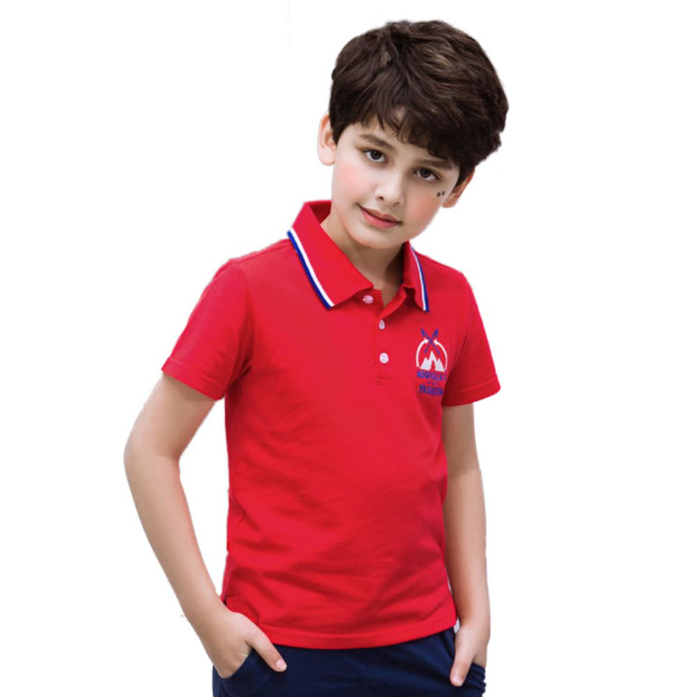 MiyaSudy Little Baby Kids Cotton T-Shirt Boys Short Sleeve Embroidery Pattern Polo T-Shirt Summer Clothing Tops