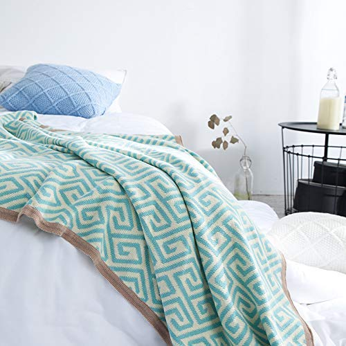 Yunyilian ソファータオルタオル幾何学模様毛布編み毛布タッセル毛布 (Color : 青, サイズ : 120x160cm) B07QMF16WB 青 120x160cm