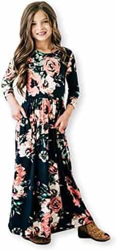 21KIDS Girls Floral Flared Pocket Maxi Short Sleeves Holiday Long Dress Size 6-12