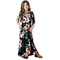 21KIDS Girls Floral Maxi Dress,Kids Casual 3/4 Sleeve T Shirt Dresses Pocket for Toddlers 6-12