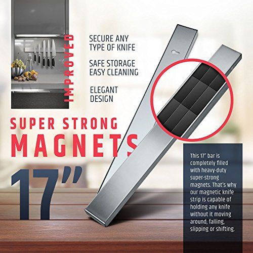 Premium 17 Inch Stainless Steel Magnetic Knife Holder – Professional Magnetic Knife Strip - Space-Saving Knife Rack/Knife Bar With Powerful Magnetic Pull Force (Upgraded Version)