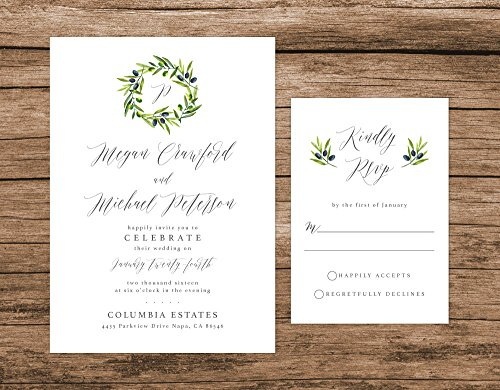 Rustic Wedding Invitation, Olive Leaves Wedding Invitation, Rustic Wreath Wedding Invitation by Alexa Nelson Prints