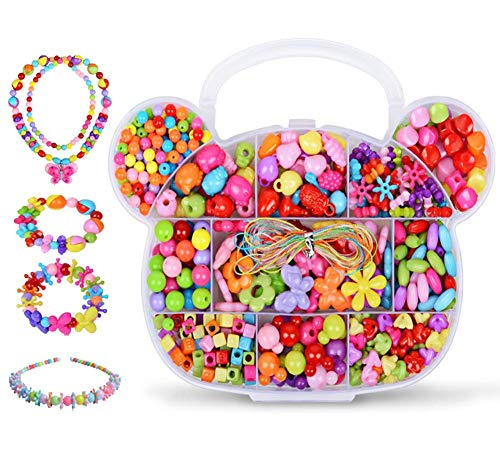 Kids Girls Jewellery Craft Bead Set DIY Art Jewellery Making Beads Kit Handmade Colorful Neacklace Bracelet Beads Fuse Bead Pearl Pony Stringing Beads in Assorted Color Shapes with Beads Storage Box