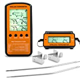 two probe meat thermometer - occer Wireless Digital Electric Meat Thermometer Remote Home Cooking Oven Thermometers With Dual Probe Monitoring Temperature For BBQ Grilling Kitchen Smoker For Red,White Meat