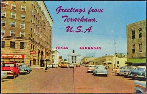 Greetings Form Texarkana (Vintage Arkansas Texas Roadside Postcard) (#8C-K1193)