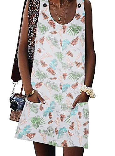 Valphsio Women's Floral Print Dress Sleeveless Button Mini Shift Dress with Pocket