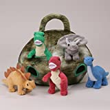 Plush Dinosaur House with Dinosaurs - Five (5) Stuffed Animal Dinosaur in Play Dinosaur Carrying Case by Unipak Designs [Toy]