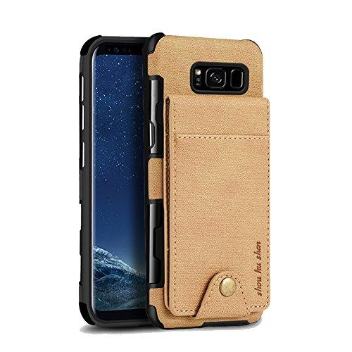 Samsung Galaxy S8 Plus 2017 6.2 Pulgadas Funda Carcasa, Sunroyal 2 en 1 Billetera Caja del Teléfono de Ultra Delgado de Cuero de Imitación de Tarjetas de Crédito Slots ID Holder Cubierta Protectora a  caqui