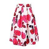 Awtang Womens Korean High Waist Rose Floral Print Skater Pleated A-Line Midi Skirt