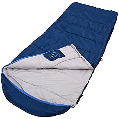 All Season Hooded Sleeping Bag [88x34in] - Comfort Temperature Range of 32-60°F. Constructed with a Ripstop Waterproof Shell, Woven Polyester Liner & High-Loft Fill. Comfortably Fits Most up to 6'6.