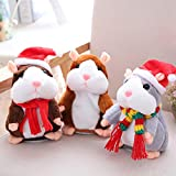 Eocolz Talking Hamster Repeats What You Say Mimicry Pet Plush Buddy Electronic Mouse Interactive Toy Funny Kids Stuffed Toys Children Early Learning for Girl and Boy Gift