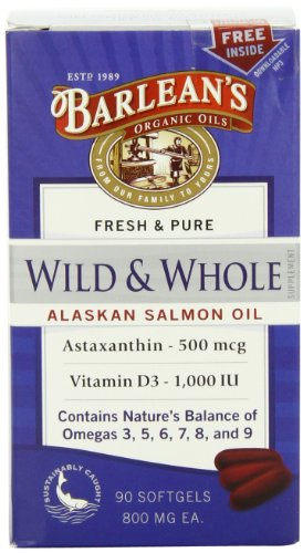 Barlean's Organic Oils Wild and Whole Alaskan Salmon Oil, 90 Count