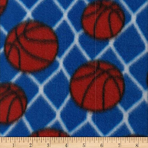 - Textile Creations Campus Sports Fleece Basketballs Royal/White Fabric Blue/White Fabric by the Yard