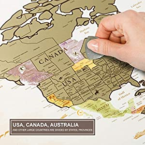 Mapa Mundi Rascar en el Marco Blanco – Mapa del Mundo para Raspar Grande Detallado 88 x 62 cm – Mapamundi Rasca Dorado – Scratch off World Travel Map Poster – Carta para Rascar Regalo para Viajeros