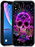 Case for iPhone Xr case Purple Sugar Skull Slim Soft and Hard Tire Shockproof Protective Phone Cover Case Slim Hybrid Shockproof Protective Case Anti-Scratch Cushion Bumper with Reinforced Corners, An