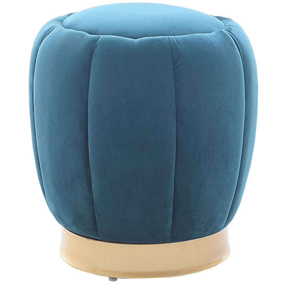 Ink-bluee 3843cm Stool Nordic Fashion Living Room Round Stool Creative Makeup Stool Sofa Footstool Solid Wood shoes Bench Pouf WEIYV (color   Light-Brown, Size   38  36cm)