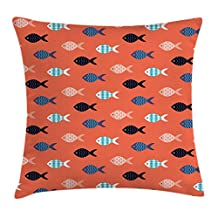 Coral Decor Throw Pillow Cushion Cover by Ambesonne, Fishes Motif Nautical Marine Sea Underwater Creature Animal Aquarium Ornate Forms, Decorative Square Accent Pillow Case, 16 X 16 Inches, Multi