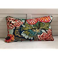 Athena Bacon Special Order for Amy Schumacher Chiang Mai Dragon in Aquamarine Designer Pillowcase with Dark Orange Piping