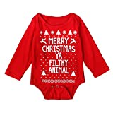Toraway Infant Baby Boy Girl Christmas Romper Jumpsuit Outfits Clothes (2-3T, Red)