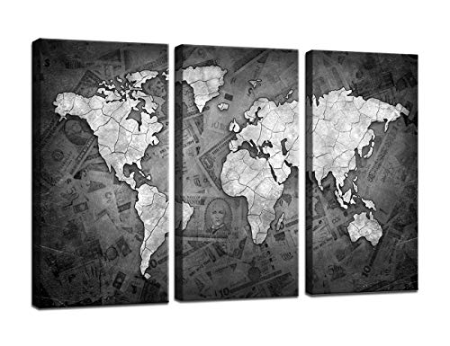Yatsen Bridge Vintage World Map Canvas Painting 3 Pieces Pictures Black and White Wall Art for Living Room Decor Artwork for Bedroom Wall Decoration Set Framed Ready to Hang(28''H x 42''W) (World Map Black And White High Resolution)
