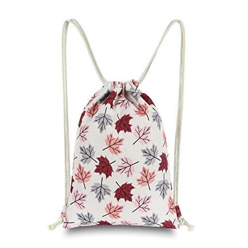 Cheap Miomao Drawstring Backpack Gym Sack Pack Printed Natural Style Canvas Bag Flodable Cinch Pack Gift Bags, Burgundy