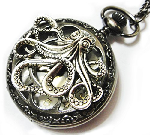 Watch Necklace Pendant - Vintage Style - Steampunk Retro Dark Gray Pocketwatch Octopus charm ()