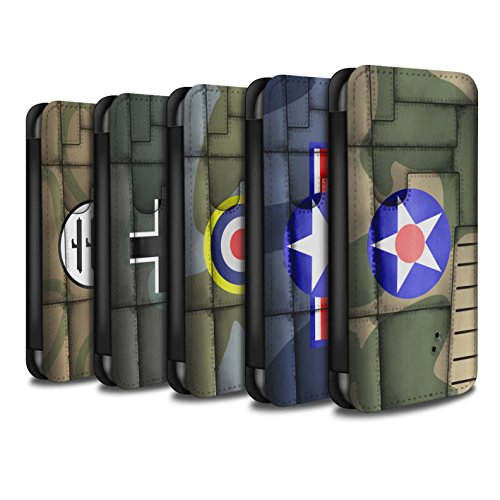 Stuff4 Coque/Etui/Housse Cuir PU Case/Cover pour Apple iPhone 8 Plus / Pack 6pcs Design / Aile Avion de Chasse Collection