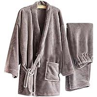 Warm Flannel Men's Kimono Pajamas Khan Steamed Clothes,Gray