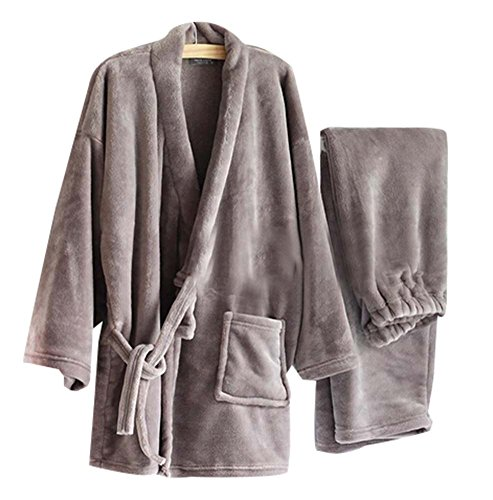 Warm Flannel Men's Kimono Pajamas Khan Steamed Clothes,Gray