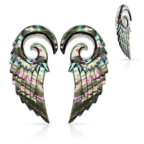 Abalone 2 Hole - MsPiercing Pair Of Organic Abalone Angel Wing Spiral Taper, Gauge: 2 (6.5Mm)