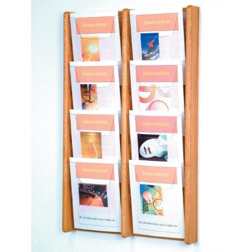 - DMD Magazine Rack, Literature Wall Display, 8 Pocket Solid Oak and Acrylic, Light Oak Wood Finish