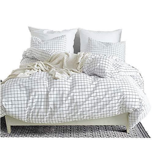 - Fire Kirin Queen Duvet Cover Set with Zipper Closure 3Pcs (1 Duvet Cover + 2 Pillowcases) Modern Mini Black and White Grid Checkered Pattern Bedding Cover Set