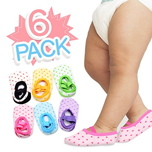 6 Pairs of NonSlip Infant/Toddler Ballet Style Baby Girl Socks for 9-32 (Halloween Baby Girl Clothes)