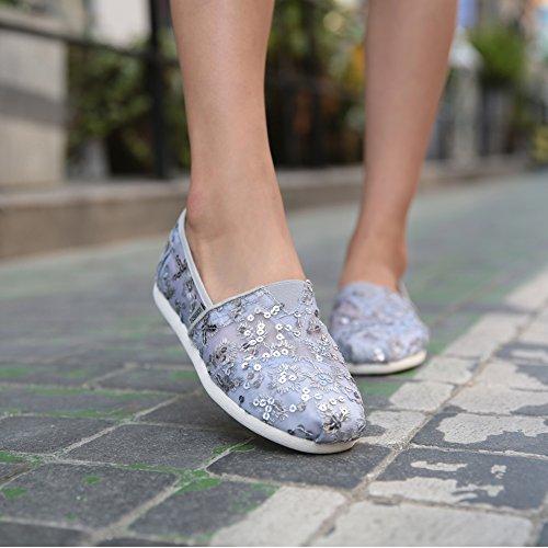 Tiosebon Kvinna Snedsteg På Gymnastikskor Andas Flats Shoes 5929 Grå