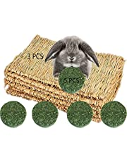 3 Pack Rabbit Bunny Grass Mat with 5 Pcs Natural Chew Sticks Rabbit Toys, Breathable Reed Hamster Pad Straw Chew Toy, Edible Chew Toy for Guinea Pig Parrot Rabbit Bunny Hamster Rat