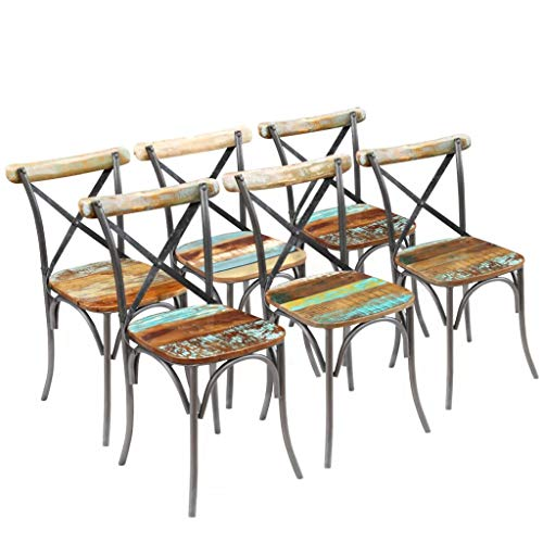 Armless Multi Purpose Stackable - Festnight Set of 6 Dining Chairs Reclaimed Wood Industrial Bistro Cafe Side Chairs with Metal Frame Legs Stackable Armless Chair Kitchen Home Furniture 20
