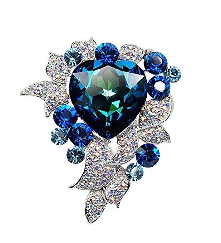 - autulet Brilliant Western Style High-End Classic Blue Ocean Heart Austrian Crystal Brooch Pin For Women & Men