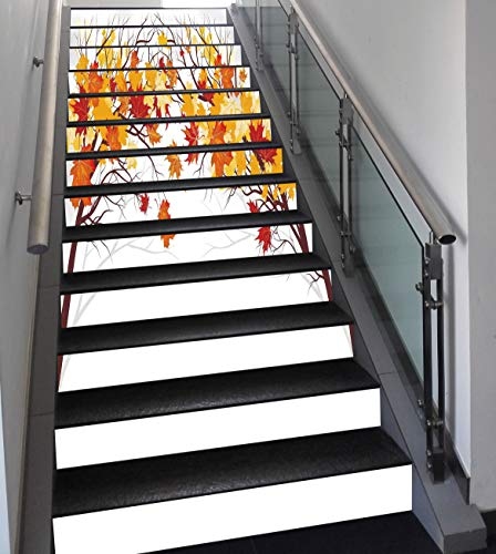 Stair Stickers Wall Stickers,13 PCS Self-adhesive,Fall Decorations,Image of Canadian Maple Leaves in Fall with Soft Reflection Effects,Orange White,Stair Riser Decal for Living Room, Hall, Kids Room D
