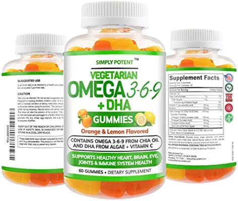 Omega 3 Fish Oil Vegetarian Gummies NO Fish NO Krill Omega 3 6 9 from Chia & DHA from Algae Chewable Non-GMO Gluten Free Supplement for Men Women & Kids Supports Brain Heart Joint Eye & Immune Health