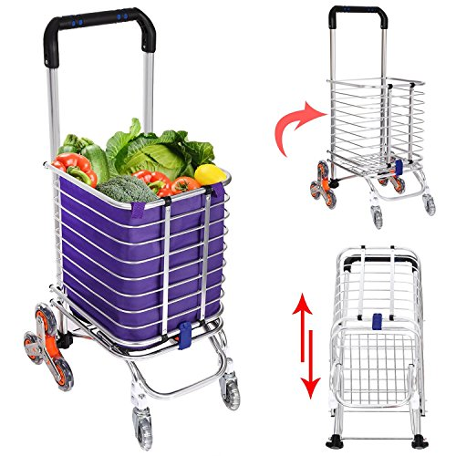 Korie Folding Shopping Cart, Stair Climbing Grocery Utility Cart with Rolling Swivel Wheels Bearings & Removable Waterproof Canvas Bag - 177 Pounds Capacity [US Stock]