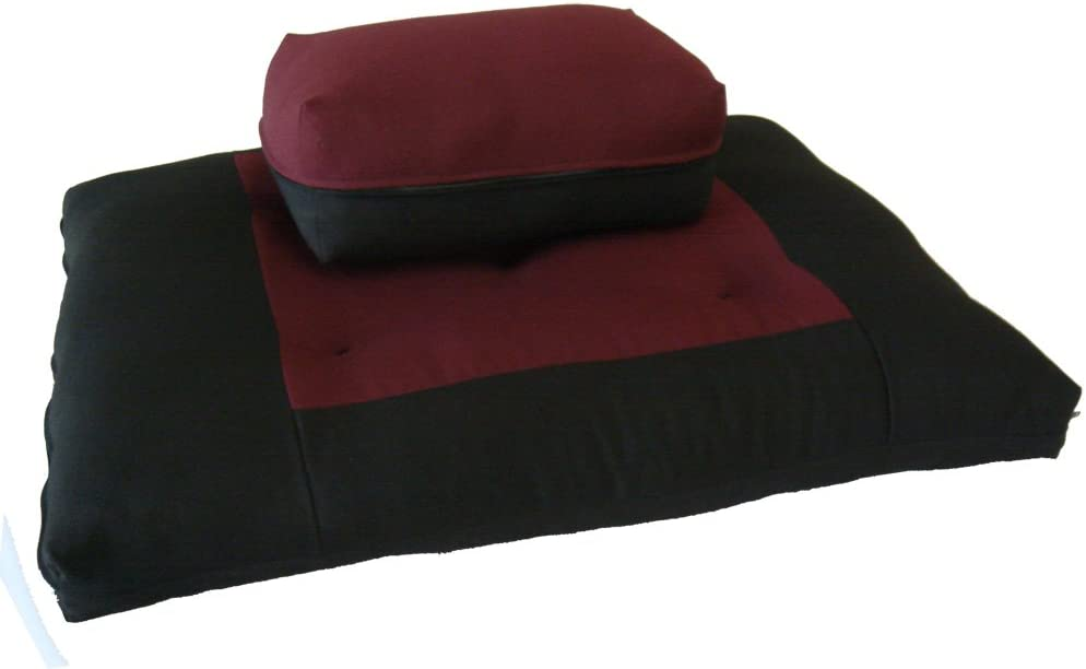 D&D Futon Furniture Black/Burgundy Zabuton Zafu Set, Yoga, Meditation Seat Cushions, Kneeling, Sitting, Supporting Exercise Pratice Zabuton & Zafu ...