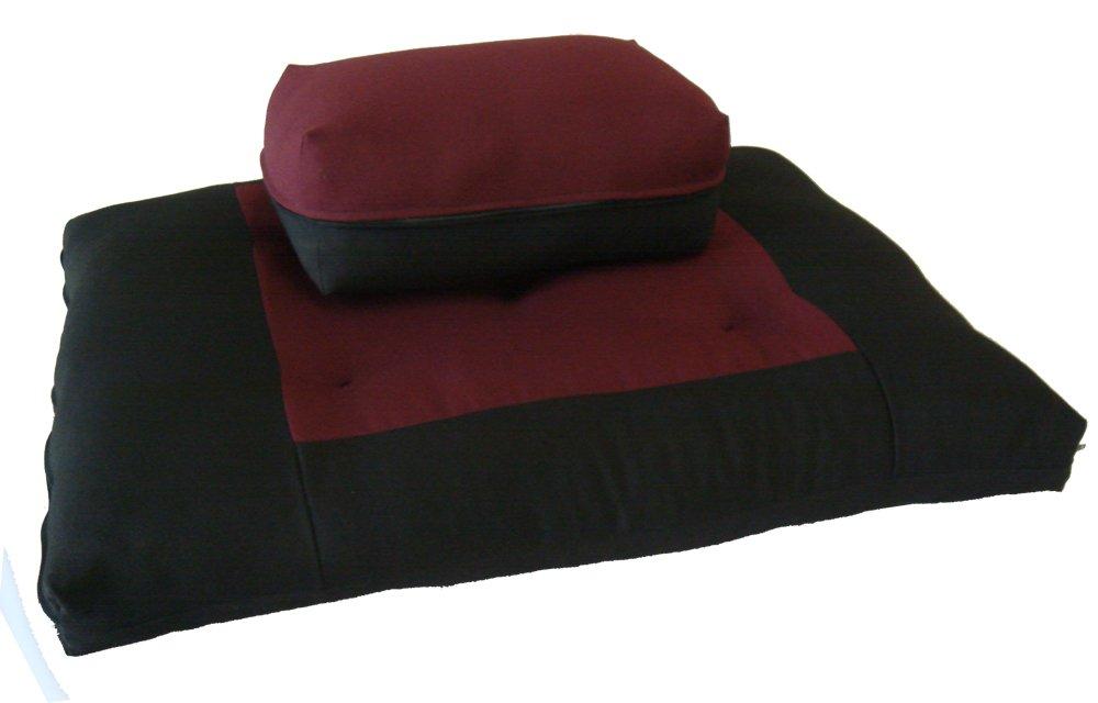 Brand New Black/Burgundy Zabuton Zafu Set, Yoga, Meditation Seat Cushions, Kneeling, Sitting, Supporting Exercise Pratice Zabuton & Zafu Cushions.
