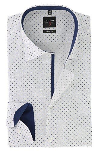 OLYMP Herren Langarm Business Hemd | Serie Level 5 Body Fit mit Under Button Down Kragen | Comfort Stretch Royal Blau Gr.43