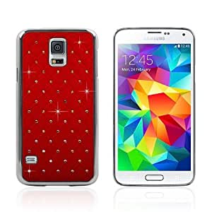 PC reinstone Pattern Protective Skin Case for Samsung Galaxy S5 SV - 1 Pack - Retail Packaging-Red