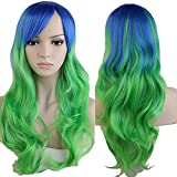 S-noilite 60cm Women Long Wavy Curly Ombre Colorful Full Hair Wig Cosplay Party Rainbow Wigs Blue Green