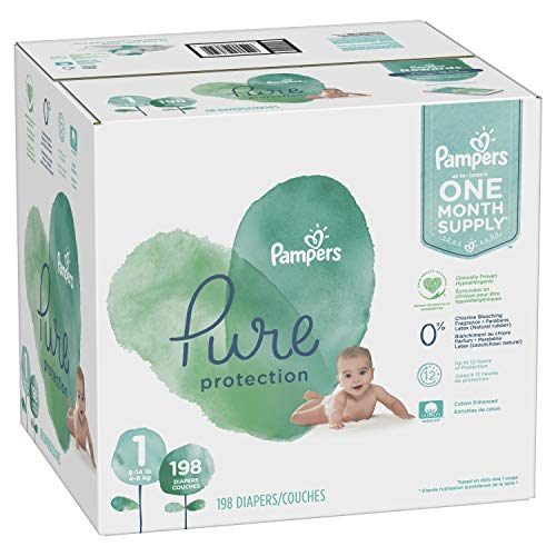 Size 1, 198 Count - Pampers Pure Disposable Baby Diapers, Hypoallergenic and Fragrance Free Protection, ONE Month Supply ()