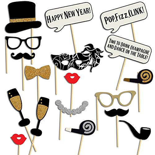 [USA-SALES] New Year Photo Booth Props, New Year Party Decoration, Mask, Attached to the stick NO DIY Required, USA-SALES Seller (18 -